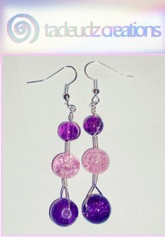 Pink & purple crackle beaded silver plated by TadeudzCreations, £3.50