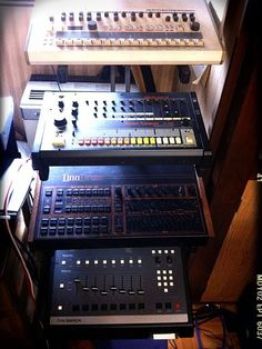 Drum Machines! Roland TR 909 Roland TR 808 SP12000  And the Lin Not the samples versions but the readeal  More than a decade and stil actual in modern music!!!