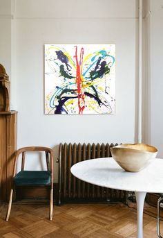 FARFALA, splash acrylic colors technique, 60x60cm