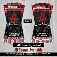 938376148 Houston Rockets Basketball Ticket Style Invitation NBA. Houston Rockets  BasketballBasketball Birthday PartiesBasketball ...