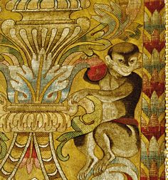 Detail from the Italian tapestry wall coverings in the music room at Highclere Castle