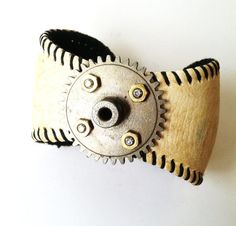 Baseball Bracelet / Repurposed / Recycled / Baseball Cuff / Upcycled / Leather Cuff / Steampunk Cuff / Baseball Gear / Industrial Jewelry.