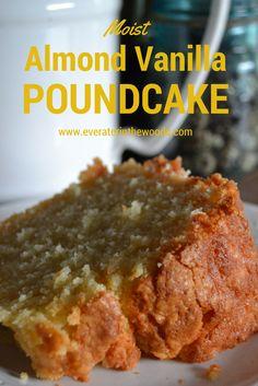 Moist and Delicious Vanilla Almond Pound Cake Vanilla almond pound cake! Pound cake is one of my favorite things to make. Pound cake is one of my favorite things to make. Just Desserts, Delicious Desserts, Dessert Recipes, Yummy Food, Almond Pound Cakes, Pound Cake Recipes, Vanilla Pound Cake Recipe, Best Pound Cake Recipe Ever, Perfect Pound Cake Recipe