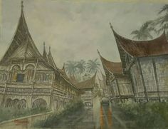 The old wooden houses,  minang architectural,  West Sumatra,  Indonesia ( my watercolor arts)