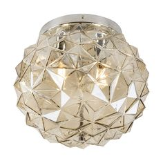 C680 - Ceiling Lamp Glass 350 2 x E14 Chrome/Cognac Ceiling Lamp, Ceiling Lights, Chrome, Pendant, Glass, Decor, Light Fixture, Decoration, Drinkware
