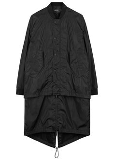 DSQUARED2 black shell coat Detachable longline underlay, front flap pockets, drawstring fishtail hem, ribbed trims, shell and meshlining Concealed zip and press stud fastenings through front 100% polyamide; coating: 100% polyurethane; trim: 95% viscose, 5% elastane; lining: 90% polyester, 10% elastane