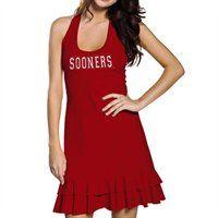 Oklahoma Sooners Ladies Crimson Ruffle Racerback Dress