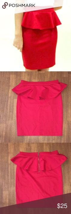 💋Sexy Red Peplum Skirt Red Peplum Skirt Brand: Timing Size Large  Hip-hugging Skirt Like New Barely Worn  💋Very Sexy Peplum Skirt 💋Perfect for a Night Out  Waistband-15 in Hips- 17 in Length-20.5 in  95% Polyester  5% Spandex Timing Skirts Pencil