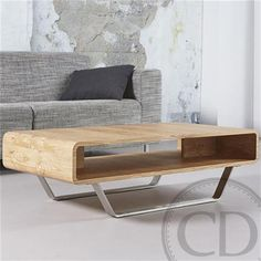 ad2b809722c951 Table basse scandinave en chêne naturel pieds inox - Warm Table basse design  en bois chêne naturel avec niche intégrée et piétement en acier inoxydable  (L  ...