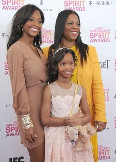 Qunyquekya Wallis, actress Quvenzhane Wallis and Qulyndreia Wallis, from left to right, arrive at the Independent Spirit Awards on Saturday, Feb. 23, 2013, in Santa Monica, Calif.