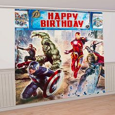 AVENGERS GIANT SCENE SETTER DECORATION ~ Super Hero Birthday Party Supplies on eBay!