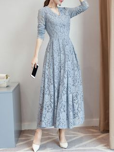 Solid Lace Long Sleeve Maxi A-line Dress Women's A Line Dresses, Trendy Dresses, Women's Fashion Dresses, Elegant Dresses, Casual Dresses, Maxi Dresses, Long Dresses, Fashion Clothes, Dress Outfits