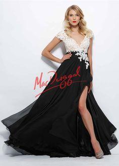 Mac Duggal 10027 - Black/White V-Neck Lace Chiffon Prom Dresses Online
