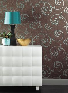 design to stencil on accent wall in bedroom. Although I would like to do the wall in a light green (not sure which shade - mint/blue/sageetc) the do the stencil in the same color with silver metallic added, so would be just a hint of pattern with sheen.