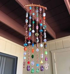 Sun Catcher with Glass Beads Crystals Bells and by LTreatDesigns
