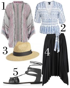 1. Kimono, 349 kr, Flash.  2. Blus, 249 kr, Lindex.  3. Hatt, 199 kr, Lindex. 4. Kjol, 299 kr, Vero Moda. 5. Sandal, 290 kr, Topshop.