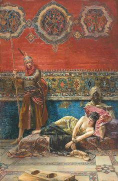 PROPERTY FROM A NEW YORK PRIVATE COLLECTION FERENCZ EISENHUT HUNGARIAN 1857 - 1903 CAPTIVE IN THE HAREM signed Eisenhut Ferencz lower right oil on panel 60 by 39.5cm., 23½ by 15½in.