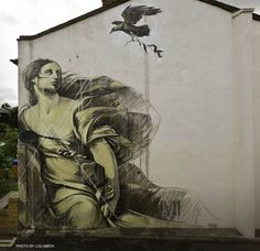 """New wall from in London referencing Guido Reni's """"Europa and The Bull"""" painting . Photo by Lou Smith. Famous Street Artists, Dulwich Picture Gallery, Bull Painting, Baroque Art, Photocollage, Art Walk, Street Art Graffiti, Old Master, Banksy"""