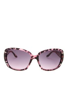 Rectangle Stone Detail Pink Animal Sunglasses by Jessica Simpson Sunglasses