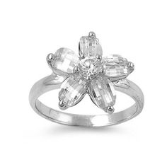 Plumeria Ring Solid 925 Sterling Silver Round Marquise Russian Ice Crystal CZ Plumeria Fashion Ring Flower Plumeria Cut Gift Size 2-14