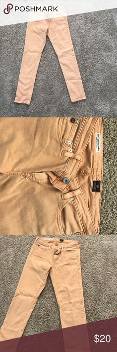 Gold colored crop jeans AG jeans. Gold. Small black stain on the left pant leg AG Adriano Goldschmied Jeans Ankle & Cropped