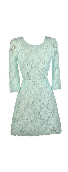 Lily Boutique Simple Yet Stunning Lace Open Back Three Quarter Sleeve Dress in Pale Mint, $40 Mint Lace Three Quarter Sleeve Dress, Cute…