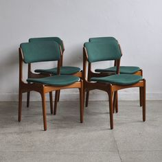- Set of 4 dining chairs- Designed by Erik Buch for O. Møbler in the Construction made of solid teak wood- Both seating and backrest upholstered with green fabric Dining Chairs For Sale, Antique Dining Chairs, High Back Dining Chairs, Mid Century Dining Chairs, Modern Dining Chairs, Side Chairs, Kitchen Chairs, Dining Chair Seat Covers, Dining Room Chair Cushions