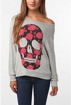 Skull sweatshirt. The flowers soften it up.