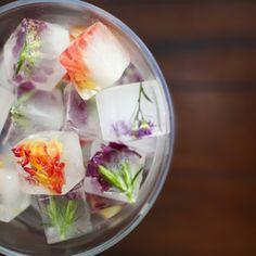 Summer garden bridal shower ideas | floral ice cubes