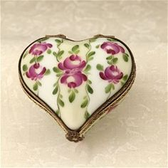 Limoges Ivory Heart with Roses Box The Cottage Shop