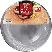 """Clear 9"""" Plastic Plates large size 9""""  (50 ct.) - Sam's Club for $11"""