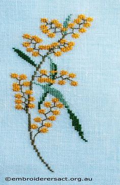 Vintage Embroidery Designs Wattle-motif-from-Vintage-Table-Mat-cross-stitched-by-Avis-Gesling. Hardanger Embroidery, Vintage Embroidery, Cross Stitch Embroidery, Embroidery Patterns, Hand Embroidery, Cross Stitch Charts, Cross Stitch Designs, Cross Stitch Patterns, Cross Stitch Material