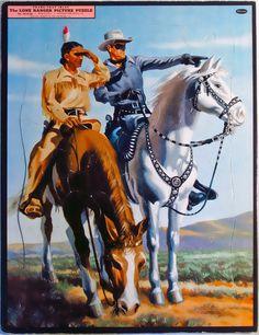 Whitman Vintage Frame-Tray Picture Puzzle 1950 Lone Ranger 2610:29 w/Tonto #WhitmanPublishing