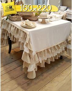 Tovaglia Shabby Chic New Fru Fru Collection Blanc Mariclo 160 x 220 cm