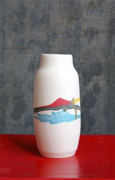 Cream's vases are hand built and painted with free inspiration. Since each item is hand made, each one has slight variations in painted theme. Vase, Ceramics, Cream, Spring, Awesome, Handmade, Stuff To Buy, Painting, Color