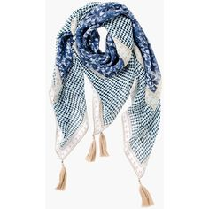 See this and similar Chico's scarves - Soothing blues, soft neutrals and glamorous tassels make this chambray scarf the perfect elegant upgrade for even your mo...