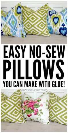 to make the easiest pillows ever! Love this no-sew pillow tutorial using glue.How to make the easiest pillows ever! Love this no-sew pillow tutorial using glue. Diy Throw Pillows, Diy Pillow Covers, Sewing Pillows, How To Make Pillows, No Sew Pillows, Decorative Pillow Covers, Outdoor Pillow Covers, Food Pillows, Pillow Cases
