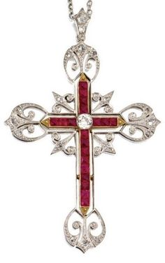 A Belle Époque Platinum, Gold, Diamond and Ruby Cross Pendant-Necklace, Circa 1900