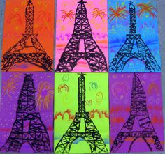 Cassie Stephens: In the Art Room: Printed Paris- Eiffel tower art for kids and neat chalk techniques