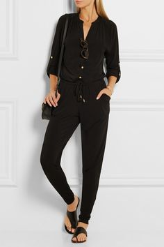 Black stretch-crepe Snap fastenings along front 95% polyester, 5% elastane  Dry clean