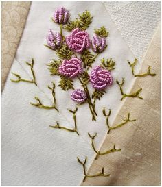 I ❤ embroidery  & crazy quilting . . . Fly stitch -2, Using the TAST 3 weekly stitches I have started with Week 1 - Closed Fly stitch for the rose leaves and a version of single Fly for the seams. Threads are Edmar Lola for roses and DMC rayon for Fly stitches