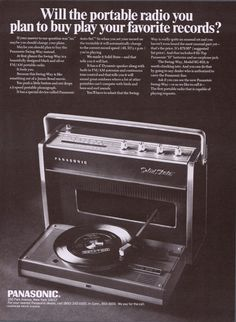 1968 Panasonic Swing-Way AM-FM Solid State SG-610 Portable Record Player