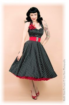 [I love the added touch of the red petticoat, to go with the red belt, corsage, and shoes.  So cute.] rockabilly - Rydell High Dance
