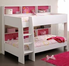 Cool Kids Bunk Bed Ideas For Boys And Girls Room : Lovely Pink and White Cool Kids Bunk Bed Decoration with Polkadot Bedding and Shelving Un...