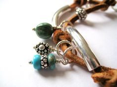 Beaded Leather Silver and Turquoise Bracelet by littlebrownbird, $50.00
