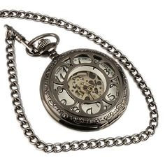 ESS Mens Black Stainless Steel White Dial Hand-Wing Up Mechanical Pocket Watch with Chain WP059 ESS. $21.99. come with black gift box. 30cm chain in it. precision Japanes mechanical movement. 100% brand new. stainless steels watch case