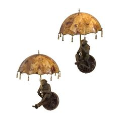 Maitland Smith Pair of Verdigris Patina Brass Monkey Wall Lamps 1953-255