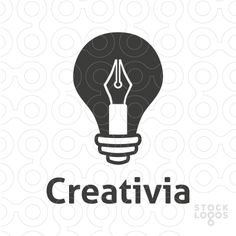 Creative logo combining a light bulb with a pen. (keywords: creative, creativity, writer, pen, pencil, article, education, bulb, light, learn, learning, university, school, newspaper, media, magazine, blog)