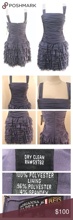 [ Adrianna Papell ] ruffle party dress [ Adrianna Papell ] Live From The Red Carpet ruffle party dress in Freesia size 4 NWT.  Dress is a beautiful purple/grey with raw edge tiers. Gorgeous dress. MSRP $195. Picture #4 most accurate color. Adrianna Papell Dresses Mini
