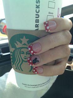 Disney Nails -                                                              Minnie Mouse -  Disney nails